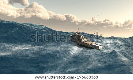 fishing boat giant wave storm rogue wave - stock photo