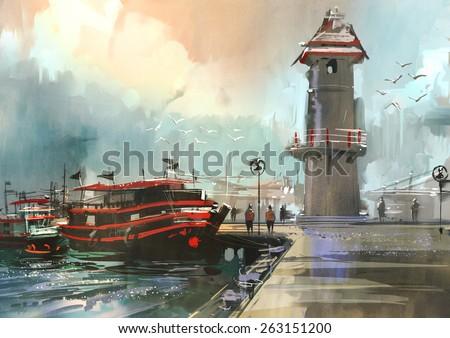 fishing boat in harbor,digital painting - stock photo