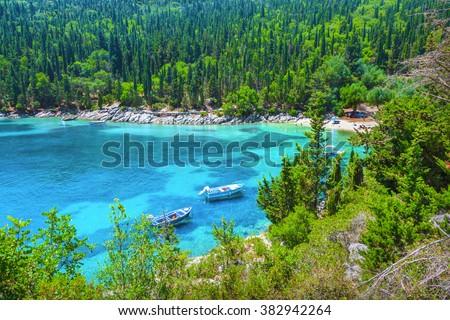 Fishing boat in Kefalonia island, Greece - stock photo