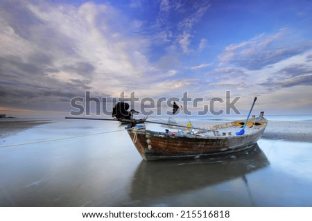 Fishing Boat in Thailand before sunset - stock photo