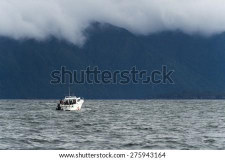 Fishing boat in the Pacific Ocean, Skeena-Queen Charlotte Regional District, Haida Gwaii, Graham Island, British Columbia, Canada - stock photo