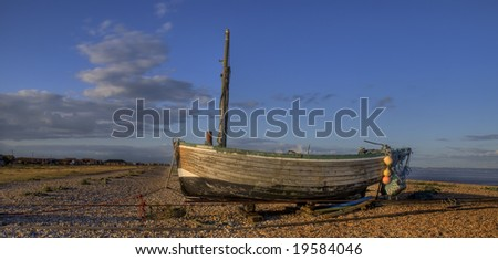 Fishing boat, Lydd, Kent South coast England - stock photo
