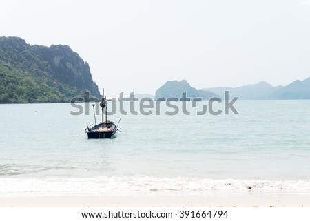 fishing boat on sea - stock photo