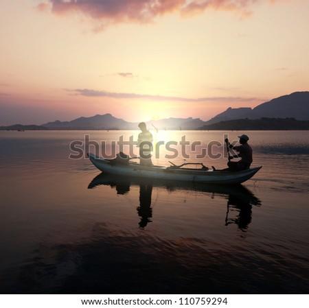 Fishing boat on  Sri Lanka - stock photo