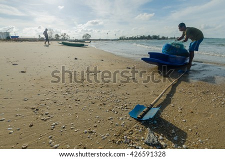 fishing boat on the HAD TRAY KHEW BEACH, SINGHANAKHON SONGKHLA Feb 13,2016' Thailand