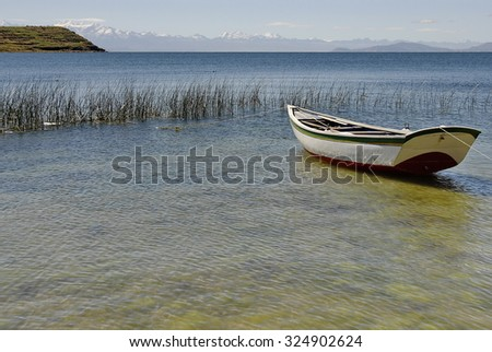 Fishing boat on The Lake Titicaca, Isla del Sol, Bolivia. - stock photo
