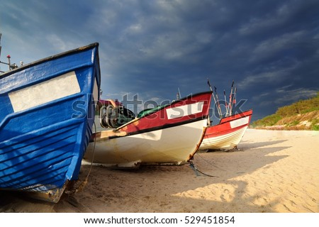 Fishing boat on the shore of the Baltic Sea.