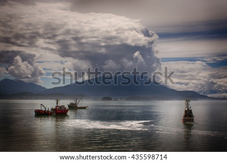 fishing boat seines for salmon , Alaska - stock photo