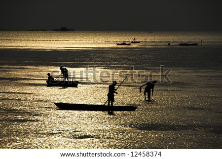 Fishing boat Silhouette, sunset at Tanjung Pinang