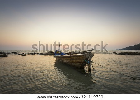 Fishing boat sunset