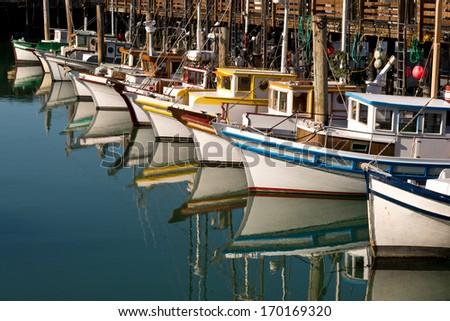 Fishing Boats Docked San Francisco Pier 39 - stock photo