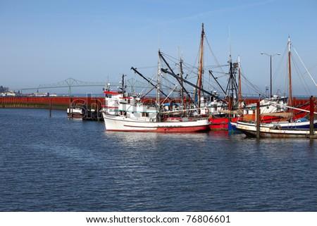 Fishing boats in a marina, Astoria OR. - stock photo