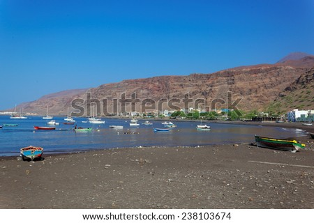Fishing boats in bay of Tarrafal, island Sao Nicolau, Cape Verde (Cabo Verde), Africa - stock photo
