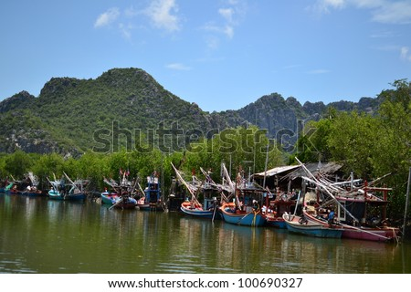 Fishing Boats in blue sky,Thailand,Asia.