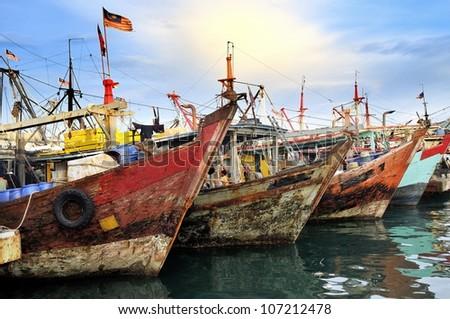 Fishing Boats in Kota Kinabalu - stock photo