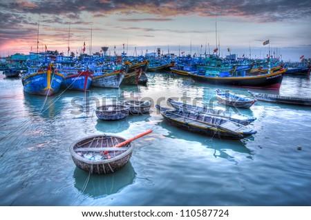 Fishing boats in marina at Phat Thiet, Mui Ne, Vietnam - stock photo