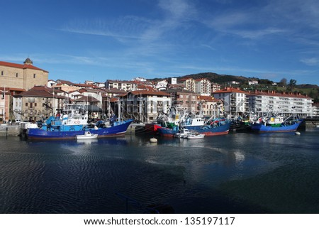 Fishing boats in Orio. Blue fishing boats attacked at Orio port, small town in Guipuzcoa, Basque country, North Spain