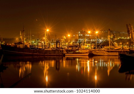 Fishing boats in the Durban habour at night