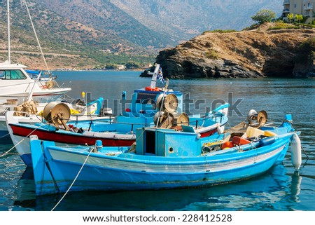 Fishing boats in the harbor of Bali. Crete, Greece, Europe - stock photo