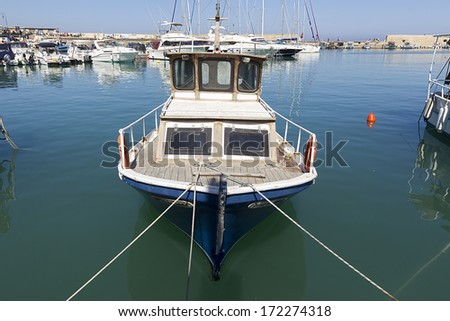 Fishing boats in the harbor of Heraklion  - stock photo