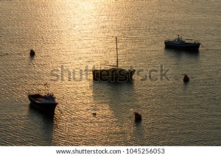 Fishing boats in the marina. Seascape on a summer evening. Ripples into the sea in the light of the setting sun. Marine background for text placement
