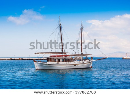 Fishing boats in the marine bay on the island of Mykonos in Greece...... - stock photo