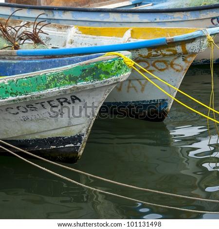 Fishing boats moored at the harbor, Sayulita, Nayarit, Mexico - stock photo