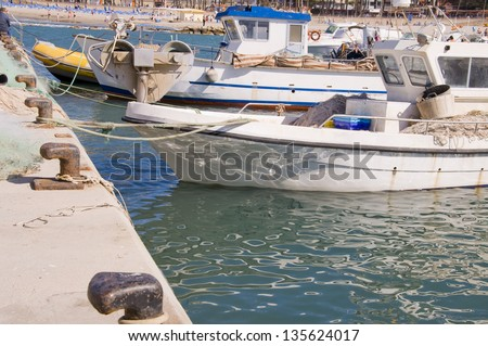 Fishing boats moored in the port