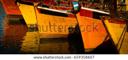 Fishing boats moored in the port of Mar del Plata, Argentina