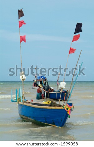 Fishing-boats off the beach of Na Jomtien, Chonburi province, Thailand
