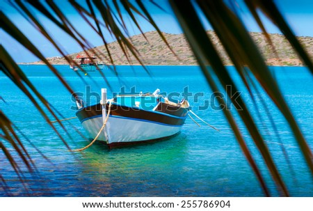 Fishing Boats off the coast of Crete, Mirabello Bay,