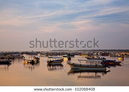 fishing boats on Bali - stock photo