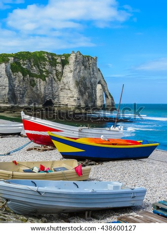 Fishing boats on the bank of English Channel. Etretat, France