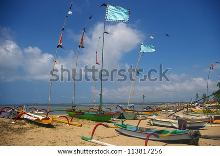 Fishing boats on the beach, Sanur, Bali, Indonesia.