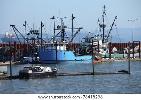 Fishing boats & small yachts in a marina. - stock photo