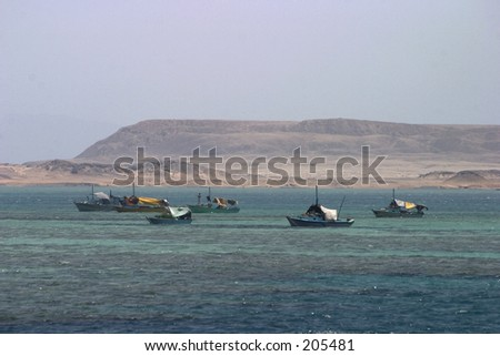 Fishing boats south of Sinai desert, Egypt - stock photo