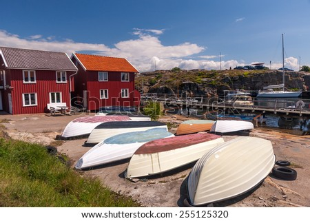 Fishing boats. typical landscape in a sunny day. Sweden - stock photo