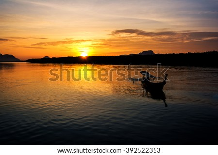 Fishing boats with morning sun.