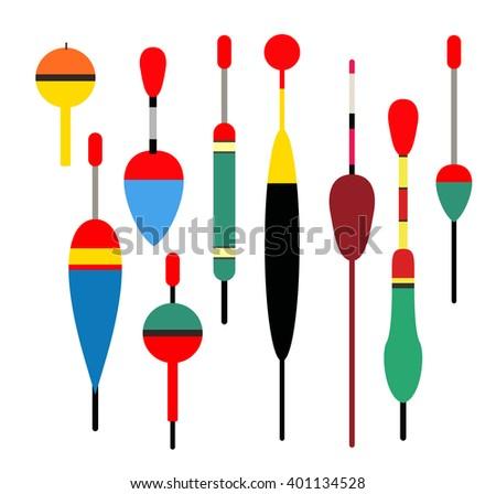 Fishing bobber set. Fishing tools illustration. Fishing bobber set. Fishing symbols. Fishing  icon. Colour bobber. fishing tools shop. Fishing elements. Fishing icons. - stock photo