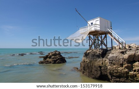 Fishing cabin in the Gironde estuary. West coast of France - stock photo