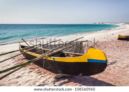 Fishing canoes on the beach of Itampolo, southern Madagascar