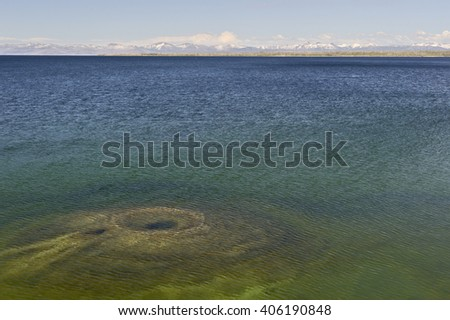 Fishing Cone at the shore of Yellowstone Lake, West Thumb Geyser Basin, Yellowstone National Park - stock photo