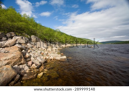 Fishing destination, river Tana in Norway - stock photo