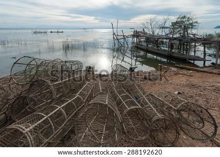 Fishing Dip Net in Songkhla Lake, Songkhla, Thailand - stock photo
