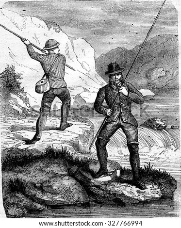 Fishing for salmon fly, Handling cane in large fly, vintage engraved illustration. Magasin Pittoresque 1867. - stock photo