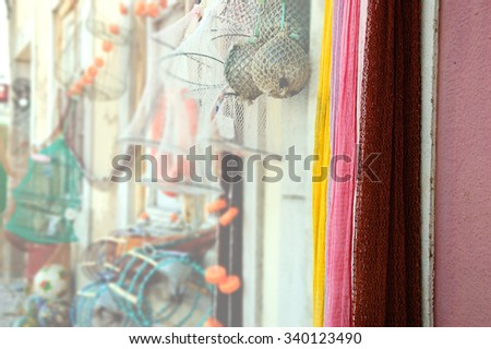 Fishing gear for sale. Portugal. Selective focus. - stock photo