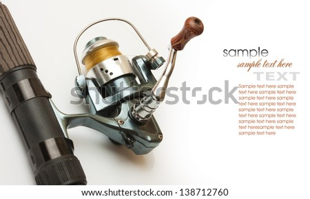 Fishing gear is isolated on a white background - stock photo
