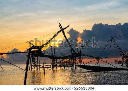 Fishing gear made by bamboo and net, called 'Yor' at Pak Pra Village, Phatthalung, Thailand.Image contain certain grain or noise and soft focus