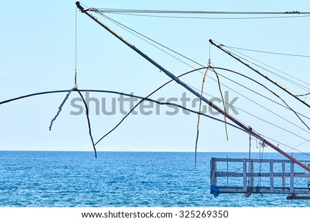 fishing gear on the sea background, landscape