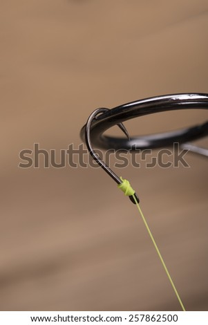 Fishing hook, line and rod - stock photo